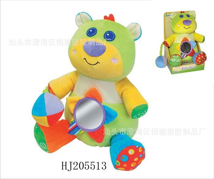 超柔软布婴幼儿宝宝车床挂 卡通动物熊公仔安抚玩具