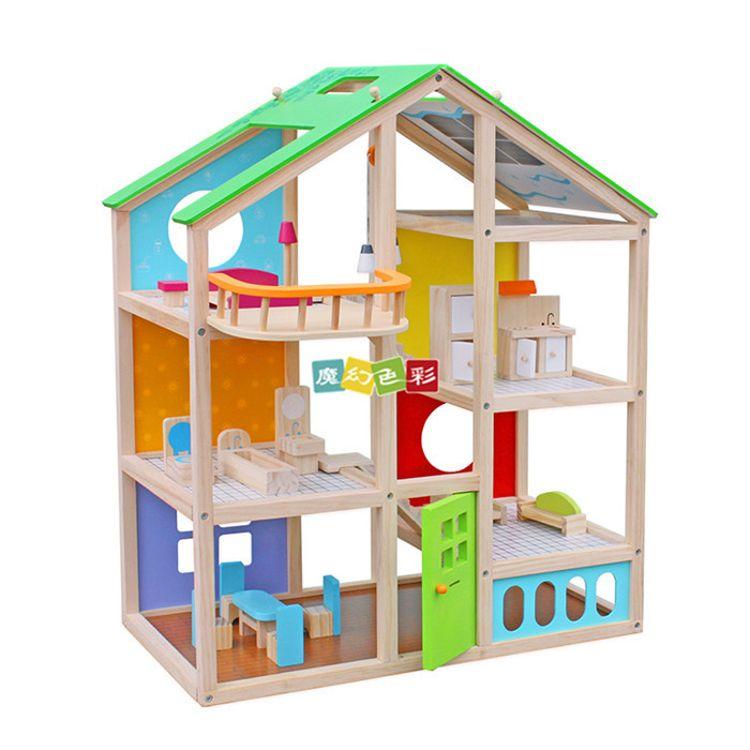 现货三层娃娃屋过家家女孩豪华城堡别墅玩具木质diy娃娃屋