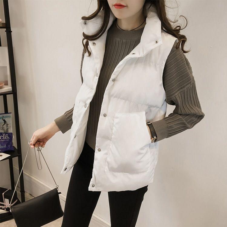 批发2018秋冬新款韩版加厚面包服立领无袖棉马甲外套女装一件代发