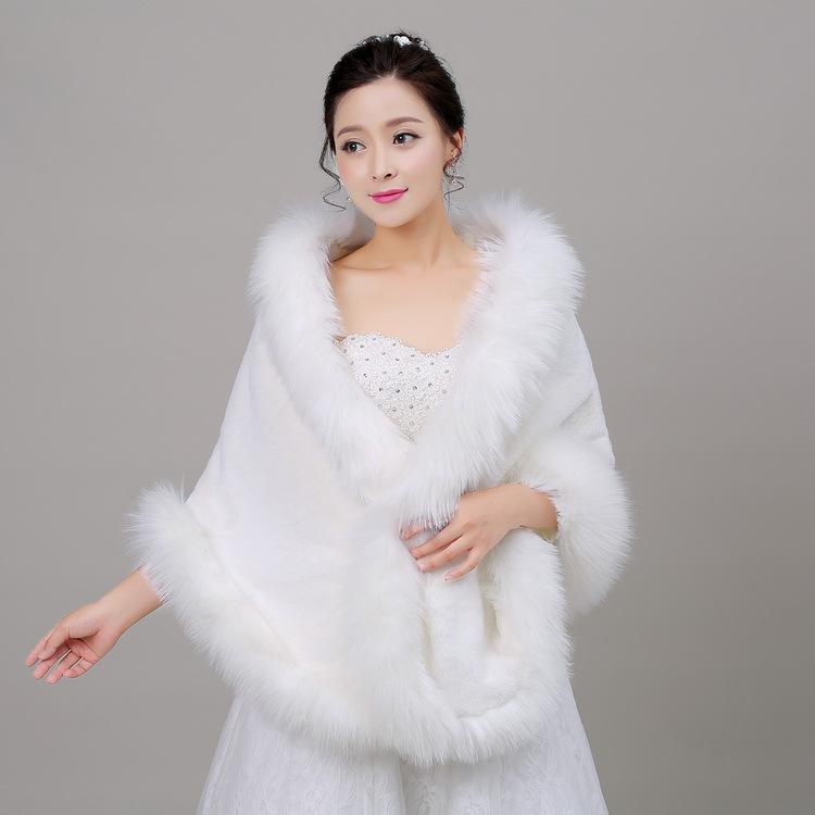 新款新娘毛披肩婚纱礼服配件狐毛平毛大圆角冬季保暖旗袍外套批发
