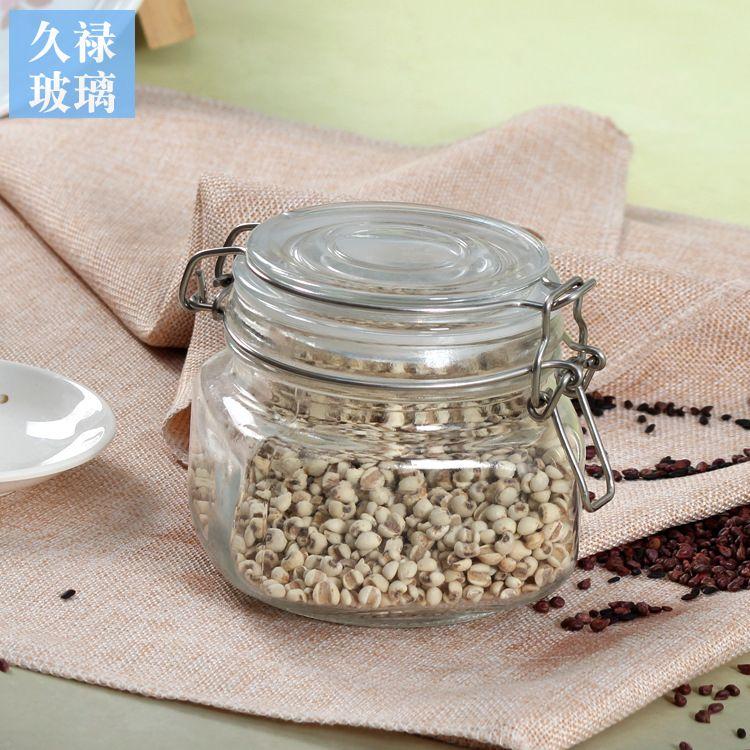 方低卡扣密封罐五谷杂粮防潮储物罐无铅玻璃茶叶瓶可定制