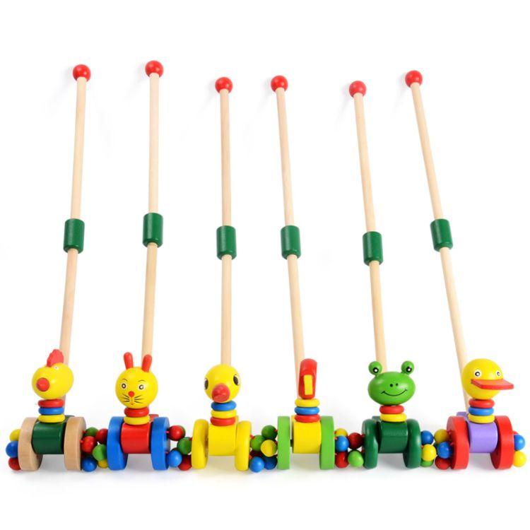 可拆卸 婴幼儿童益智早教学步车 木制单杆学步手推车推推乐玩具