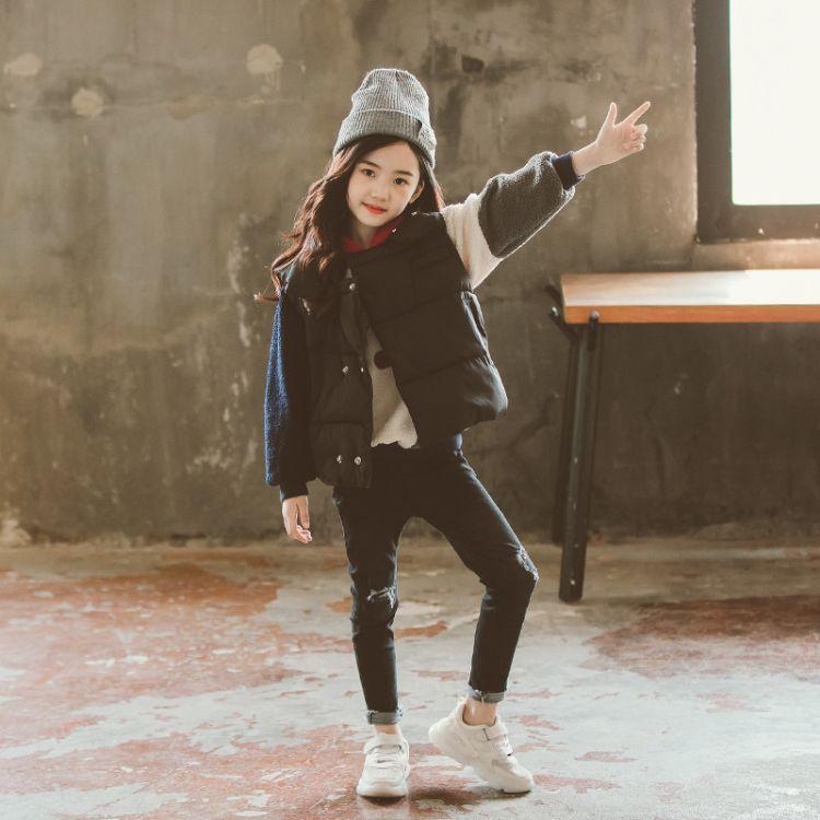 儿童马甲女秋冬装2018新款韩版潮衣大儿童装12-15岁女孩洋气外穿