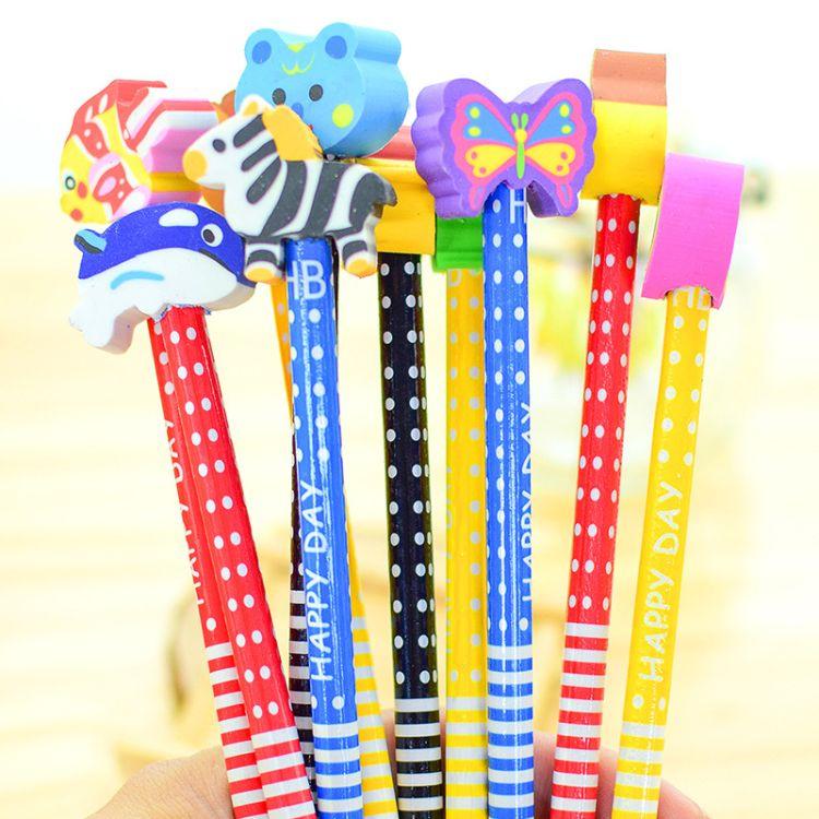 文具批发铅笔儿童学习用品小学生奖品韩国创意可爱卡通带橡皮擦
