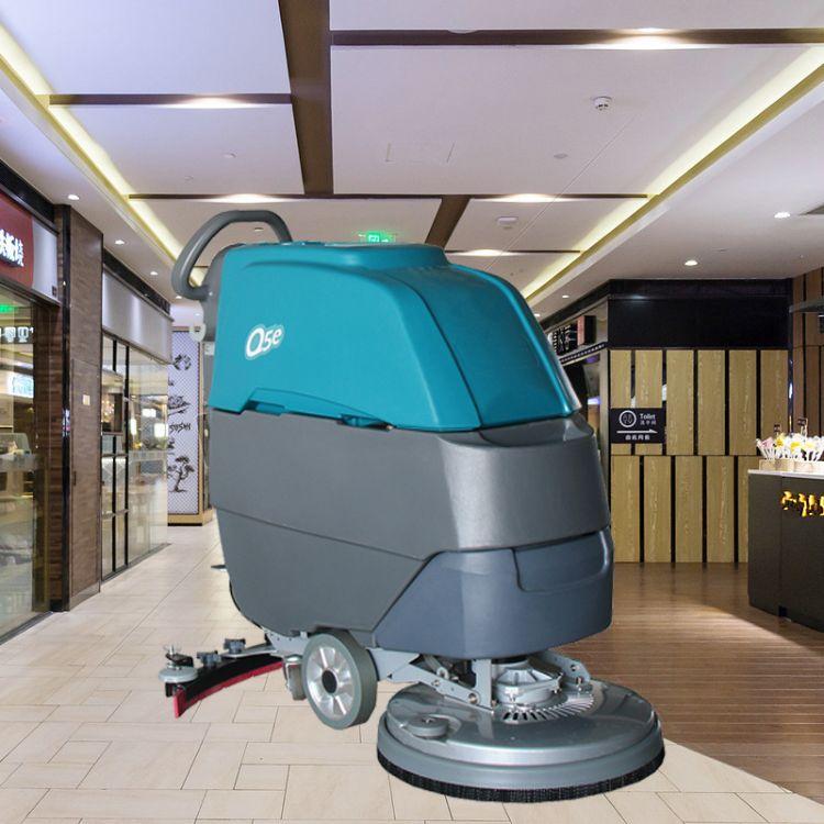 工业手推式洗地机全自动工厂车间刷地机超市商场用小型电动拖地机