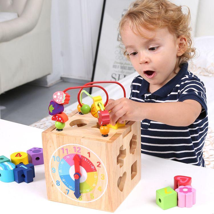 小侯鸟家木制儿童百宝箱 宝宝益智串珠四面多功能智力玩具批发