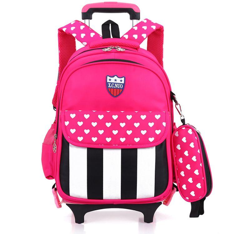 2016新款韩版时尚小学生拉杆书包 儿童双肩背包二轮可拆卸书包