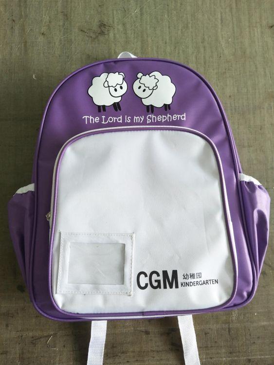 厂家直销供应紫色配白色幼稚园双肩书包
