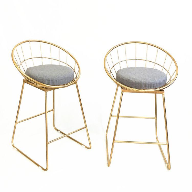 简约吧台椅铁艺吧椅金色高脚凳现代餐椅 金属铁线北欧酒吧椅子