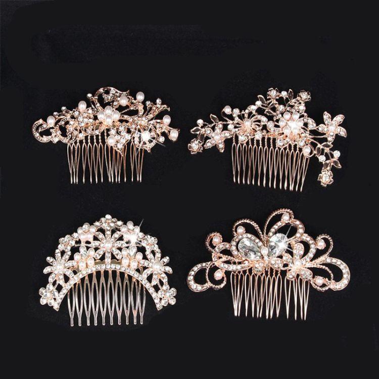 跨境热销新娘合金镶水钻珍珠发梳插梳头饰盘发配饰玫瑰金色批发