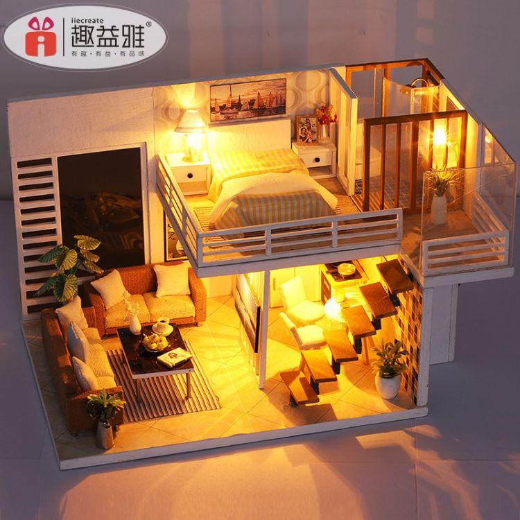 工厂一件代发DIY小屋简雅带防尘罩手工创意小房子过家家模型拼装