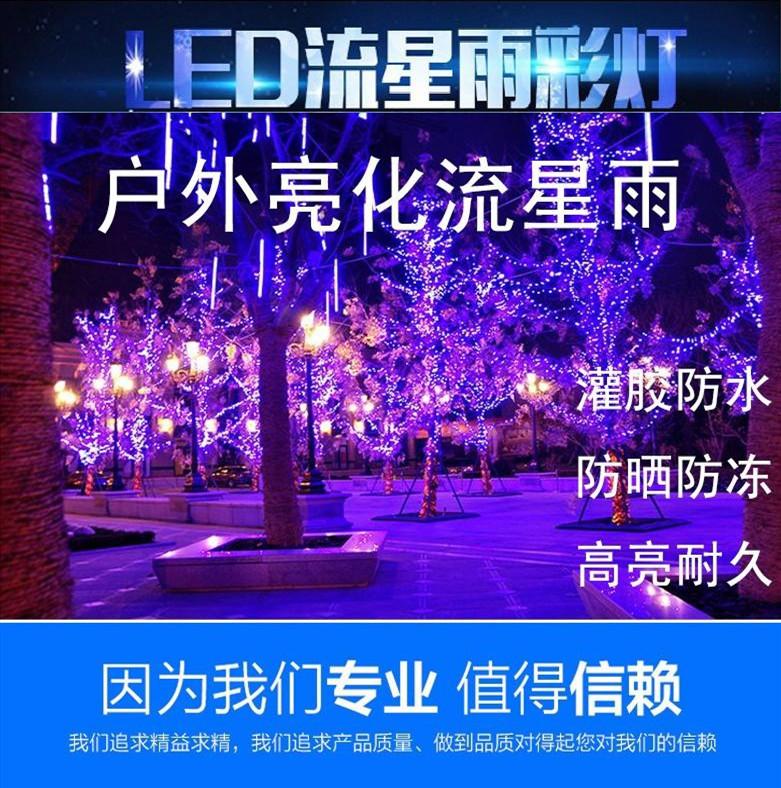 厂家直销户外LED流星防水八连串七彩树灯亮化工程装饰灯节日彩灯