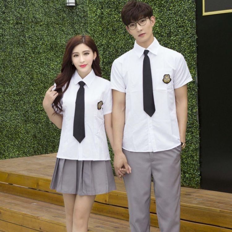 韩版学院风夏季高中学生班服校服jk制服百褶裙短袖情侣套装表演服