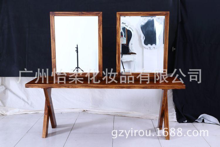 厂家直销美式复古实木镜台 单面美发店镜子落地镜发廊理发店镜台
