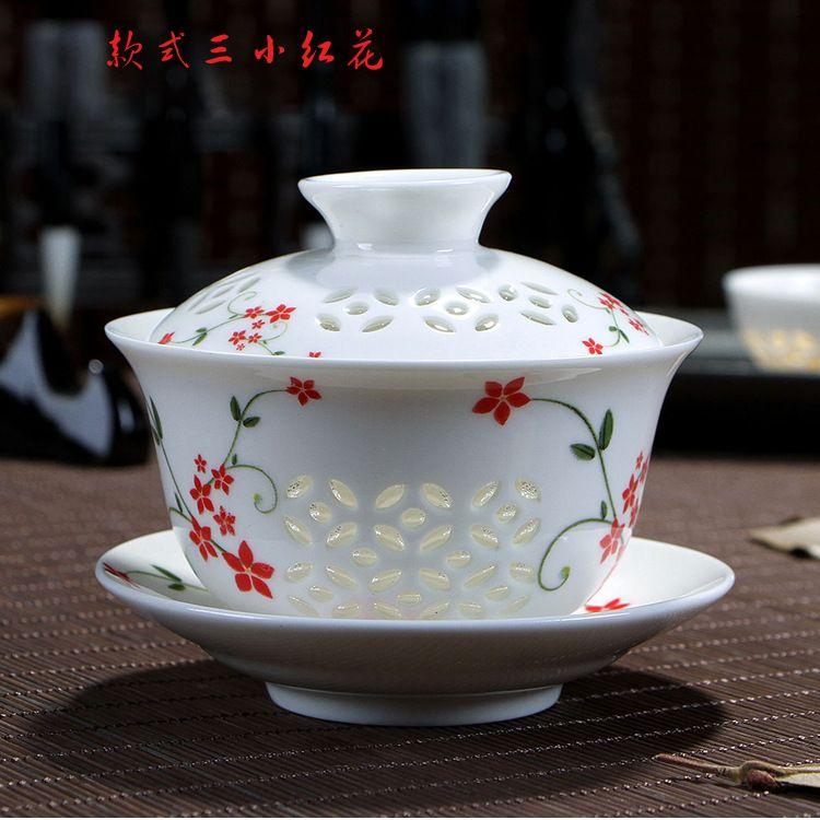 厂家直销陶瓷三才盖碗茶具紫砂冰裂青花玲珑蜂巢茶壶汝窑批发订制