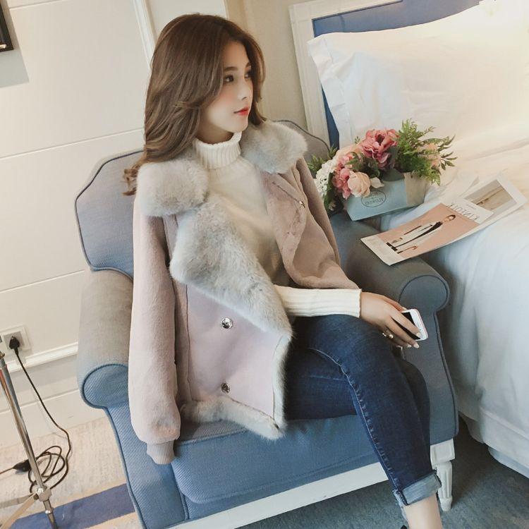 2018冬季新款皮毛一体机车短款麂皮绒羊羔毛外套女毛绒绒棉衣夹