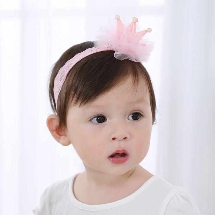 一件代发婴儿发饰网纱珍珠皇冠宝宝发带生日满月皇冠发带