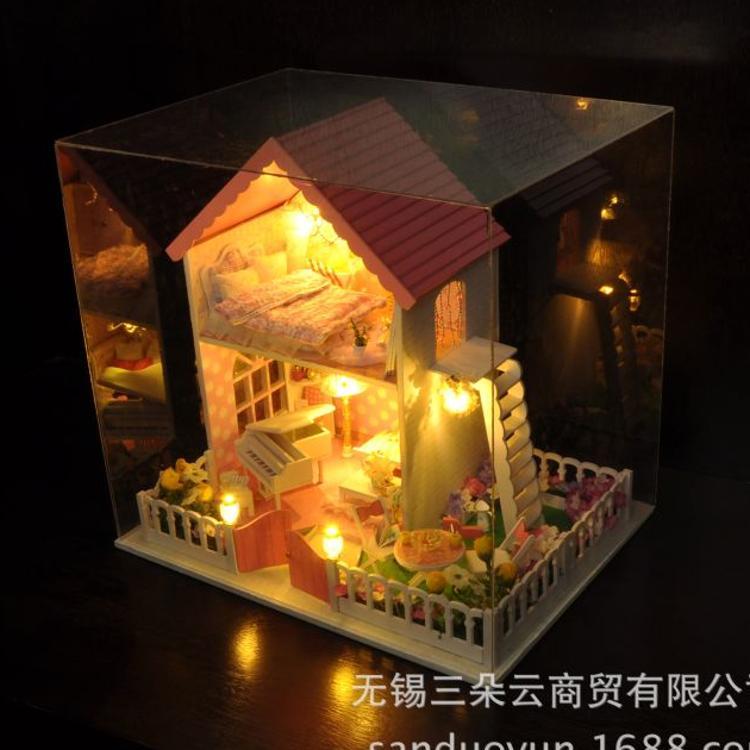 diy小屋秘密花园手工房子模型屋拼装大型别墅玩具创意工艺品天予