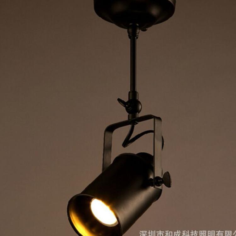 现代简约复古美式轨道灯工业创意客厅吧台服装店个性LED长杆射灯