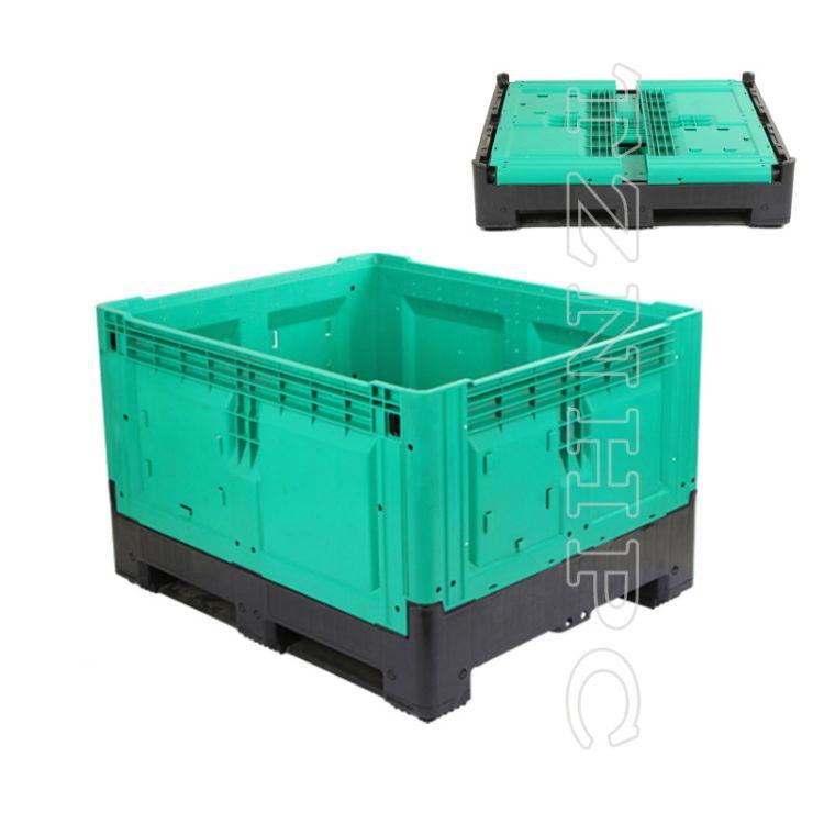 现货批发折叠卡板箱 760高带盖水果箱新料加厚 可用叉车物流箱