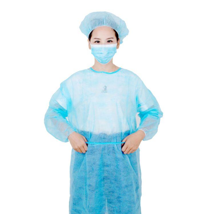 厂家定制无纺布一次性隔离衣防尘服洗手衣防尘SMS独立包装蓝色