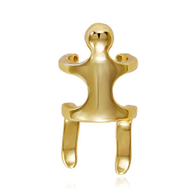 跨境货源朋克个性登山者攀爬小人无耳洞复古耳骨夹 环保铜镀真金