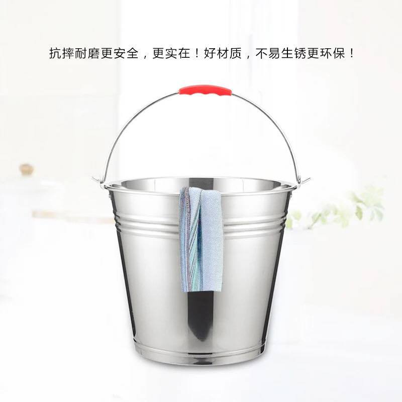 厂家直销不锈钢提水桶厨房家用无磁加厚加高户外水桶酒店商用提桶