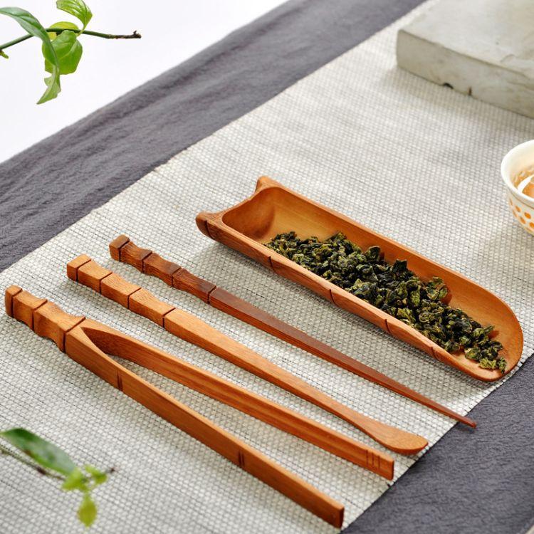 功夫茶具配件套装碳化竹制茶道四君子组合茶盘茶杯夹整套零配