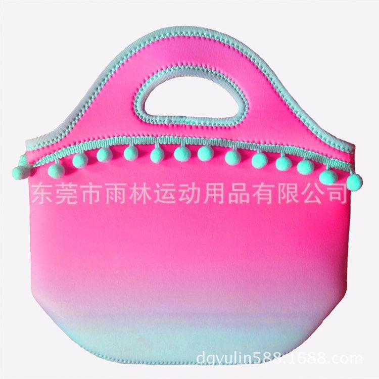 厂家定做渐变色手提午餐包 毛球花边时尚便当包野餐包 环保潜水料
