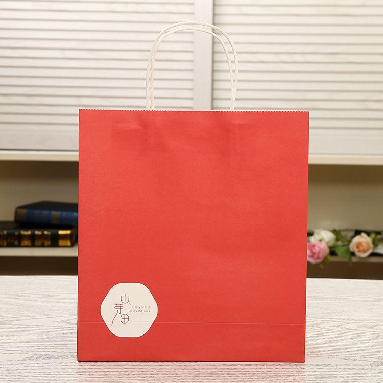 厂家推荐糖果色食品外卖打包手提袋 可印logo环保纸袋批发