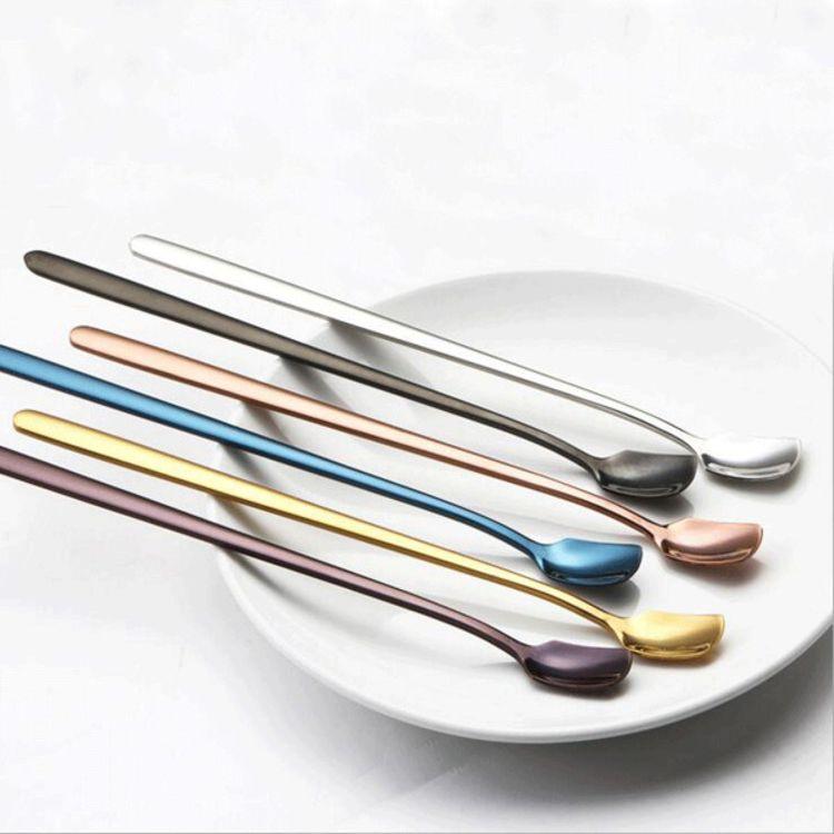 创意不锈钢304方头冰勺家用甜点长柄勺韩式实心镀金搅拌咖啡勺