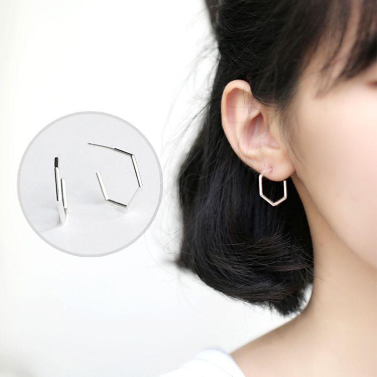 925纯银韩国极简约时尚耳钉女气质几何六边形耳环耳饰品批发