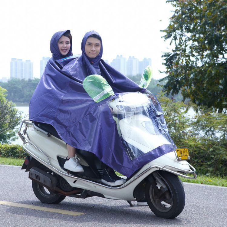 新款黑丝提花布电瓶车雨衣 加大帽檐摩托车连体雨衣批发