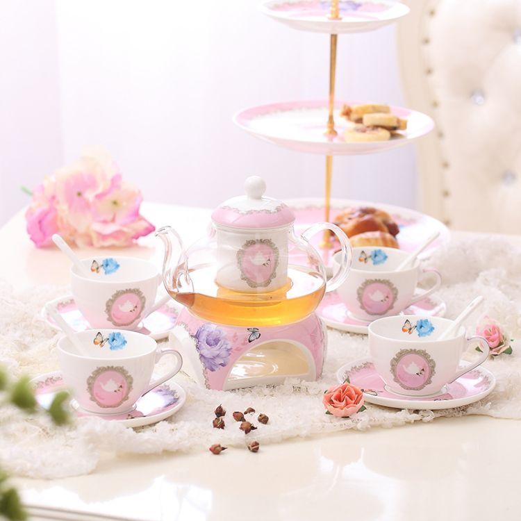 厂家直销2018年新品陶瓷花茶具套装加热英式耐高温玻璃壶下午茶具