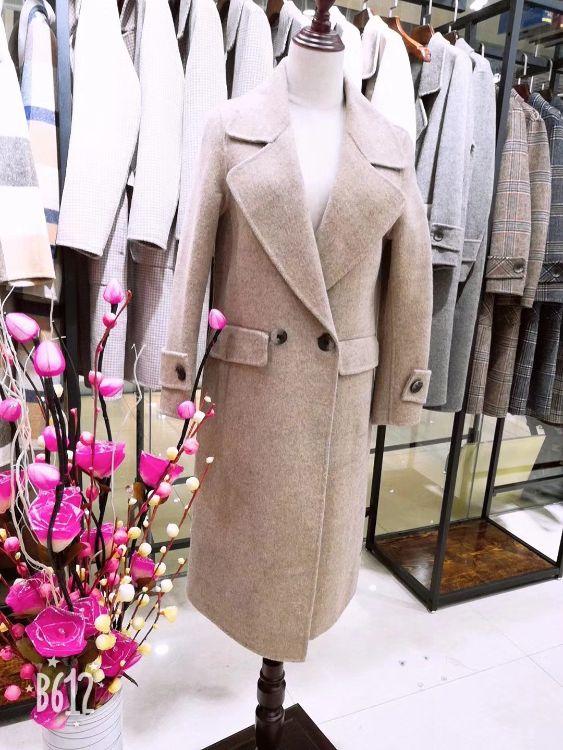 2018年秋冬季大码 阿尔巴卡新款毛呢外套 马克风格双面呢大衣走份