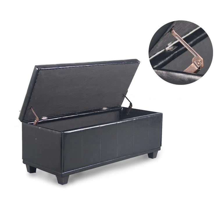 黑色PU皮革大号换鞋凳子 实木框架储物凳 床尾凳跨境电商澳洲ebay