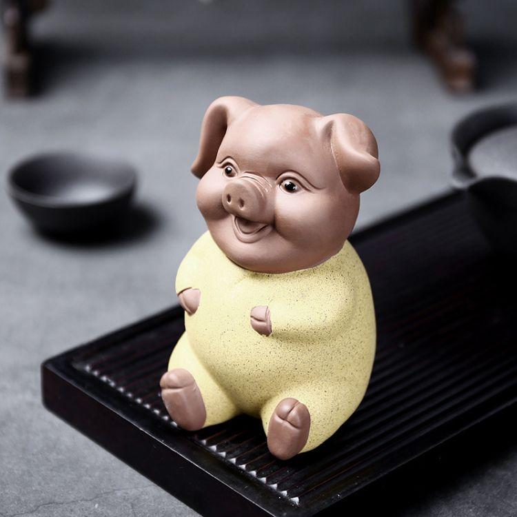 陶瓷家居装饰工艺品 车载汽车饰品 陶瓷彩砂笑脸猪 茶宠茶玩摆件