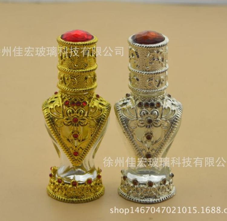 供应中东宫廷合金玻璃精油瓶 批发香薰香水分装调配夹胶瓶可定制