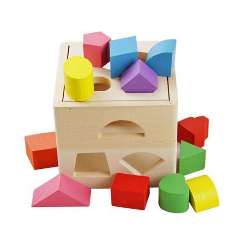 十三孔智力盒 数字几何形状配对玩具儿童宝宝益智早教木制玩具
