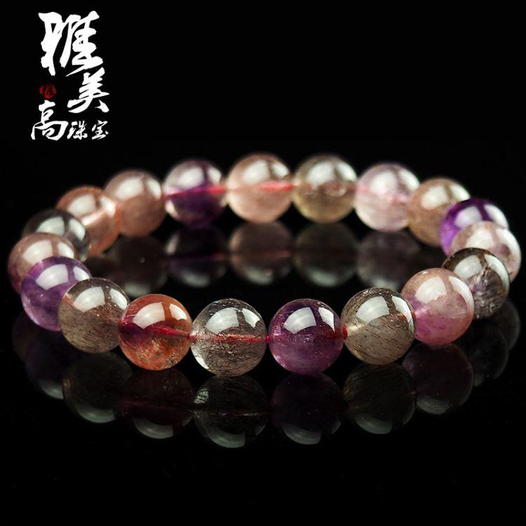 天然紫发晶女士手串 创意彩发晶手链 新品时尚圆珠单圈饰品批发