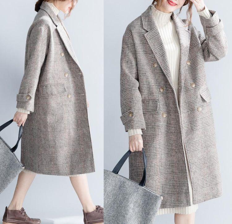 单格子大码女装中长款毛呢外套2018冬季新款胖mm显瘦百搭大衣批发