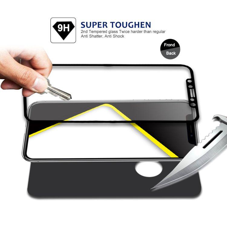 适用iPhoneX3D曲面前膜+后膜 防摔防指纹钢化膜批发定制