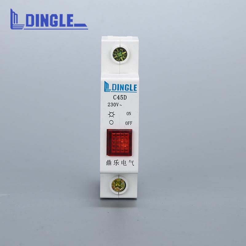 DZ47系列小型红色设备指示灯 C45D导轨式信号灯断路器样式