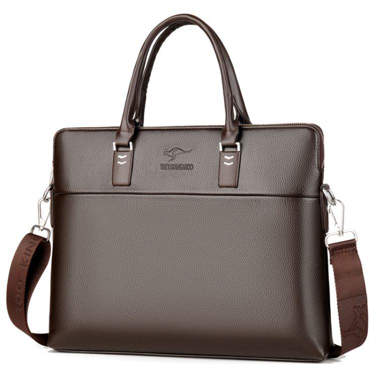 跨境袋鼠男包款男士手提包大容量休闲商务公文包横款单肩斜跨