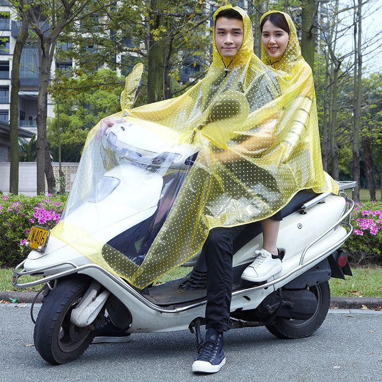 新款PVC印花透明电瓶车雨衣成人雨衣 加大帽檐摩托车连体雨衣批发