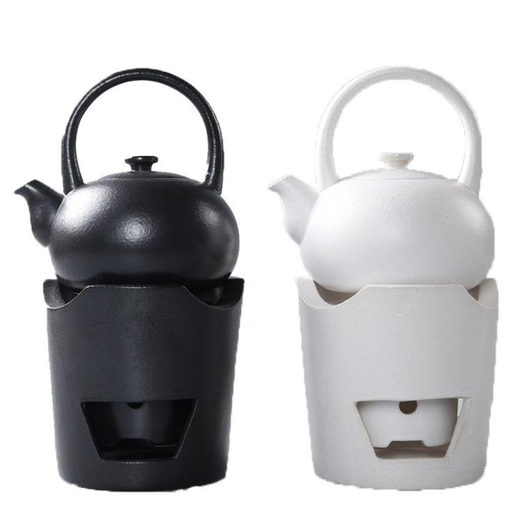 日式黑陶煮茶器酒精炭烧家用功夫烧水单壶普洱泡茶具陶瓷侧把壶