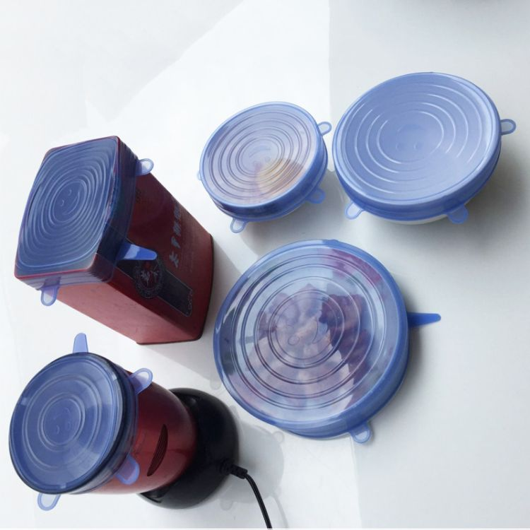 厂家新款创意硅胶保鲜盖6件套防尘防漏保鲜碗盖食品级硅胶可拉伸