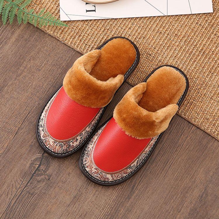 欧式居家冬季真皮拖鞋男女防滑牛筋底保暖情侣棉拖鞋厂家直销
