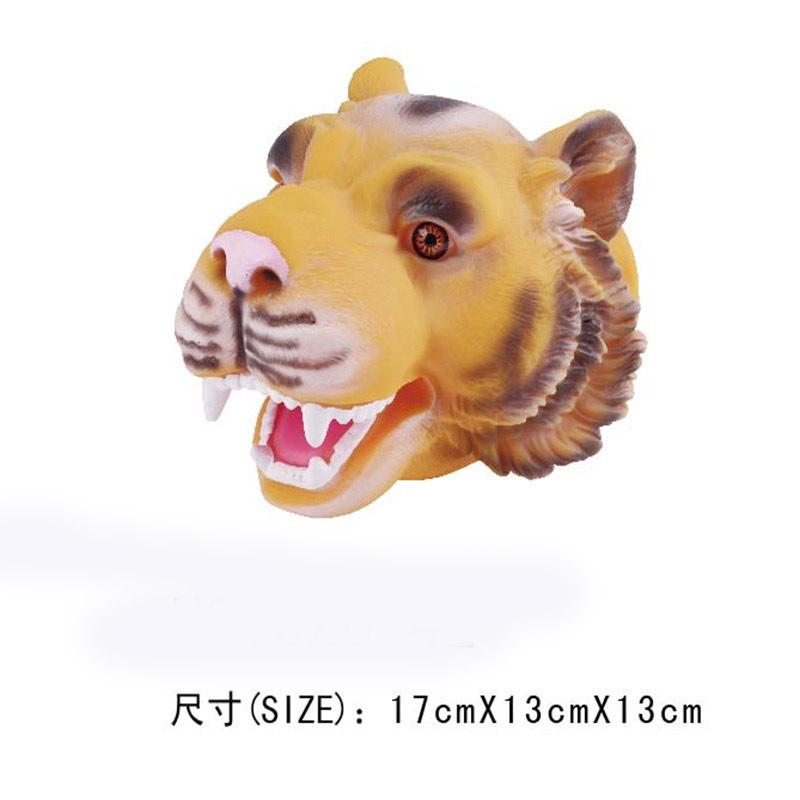 老虎手偶搪胶公仔动物手套好亲子互动霸王龙玩具赠品定制027507