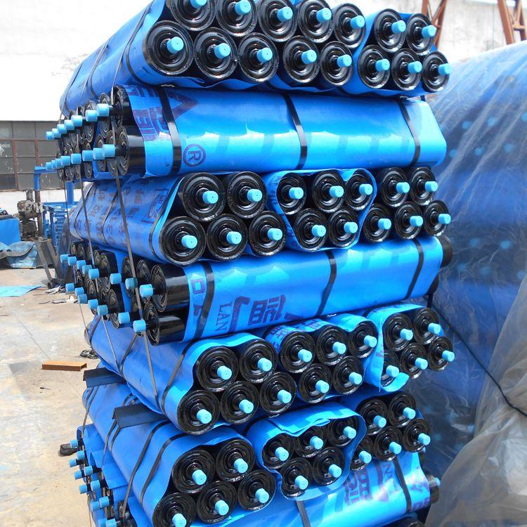 蓝箭专业定做皮带输送托辊全密封防水防尘槽型缓冲包胶铁托辊辊子